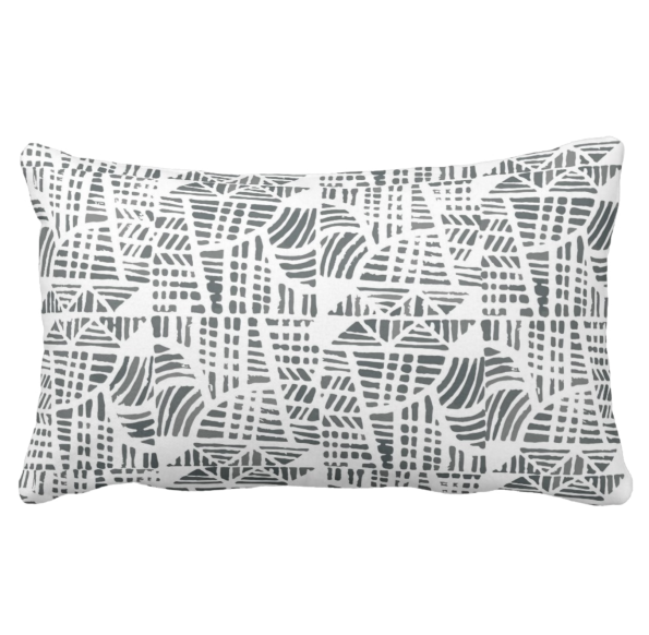 Mosaic black lumbar pillow