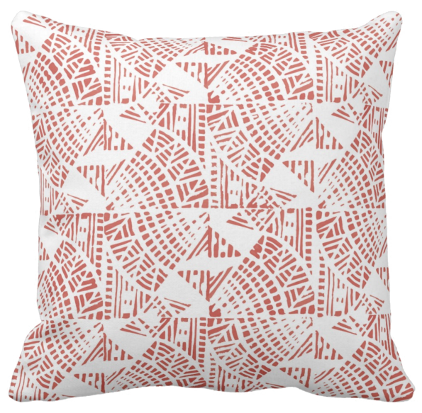 Mosaic red throw pillow