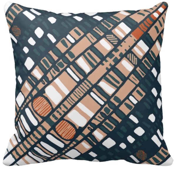Diagonal layers terracotta throw pillow