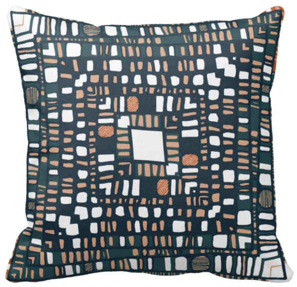 Squared layers terracotta throw pillow
