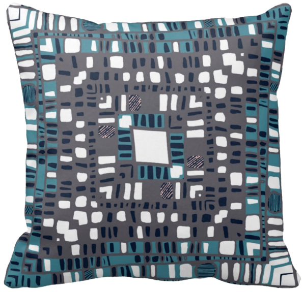 Squared layers teal throw pillow