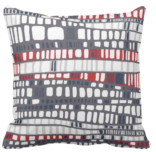 Layers red throw pillow