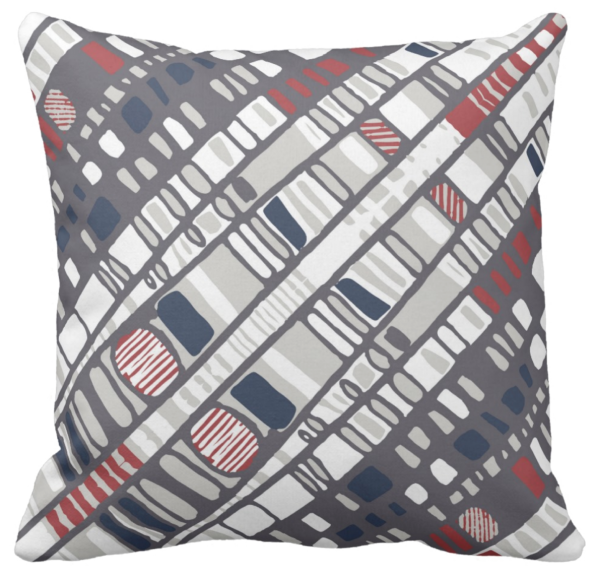 Diagonal layers red throw pillow