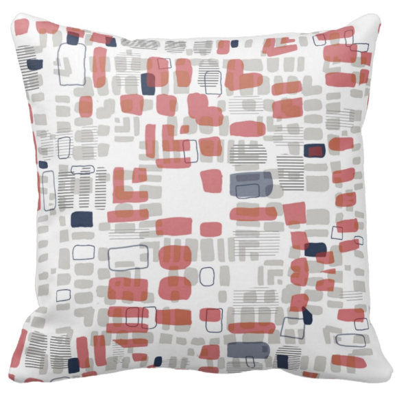 Beads red throw pillow