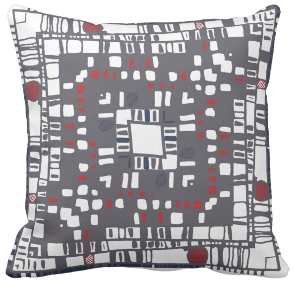 Squared layers red throw pillow