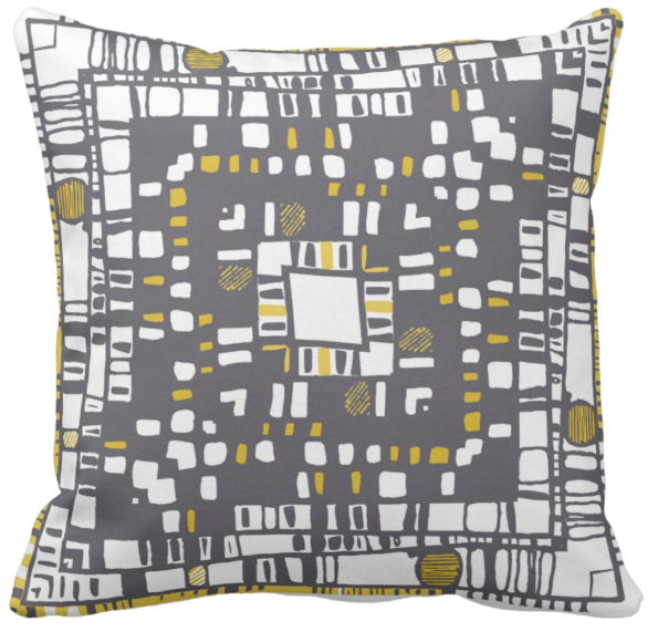Squared layer yellow throw pillow