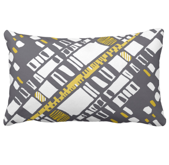 Diagonal layers yellow lumbar pillow